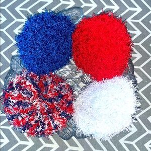 Lot of Four Crocheted Americana Kitchen Scrubbies